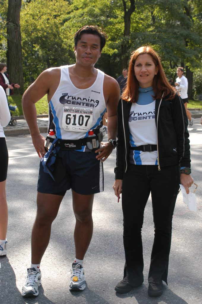 Coach Mindy with runner at Grete's Great Gallop Half-Marathon 2003