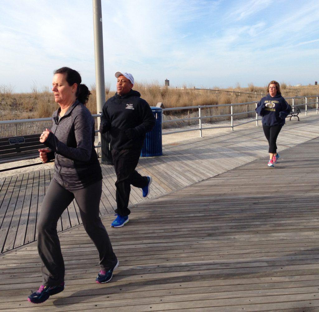 South Jersey Shore runners training on boardwalk 2016
